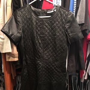 Halogen black leather quilted dress 8 EUC!